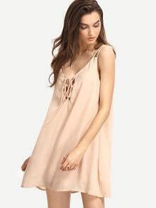 Light Pink Sleeveless Lace Up Shift Dress