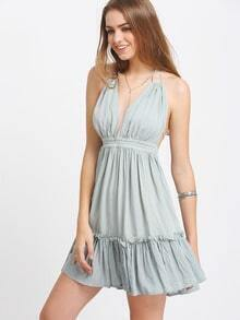 Grey Blue Halter Backless Pleated Dress