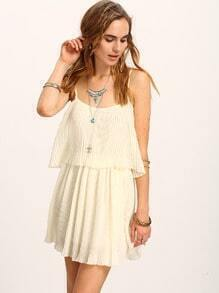 Cutout Layered Pleated Chiffon Cami Dress - Beige