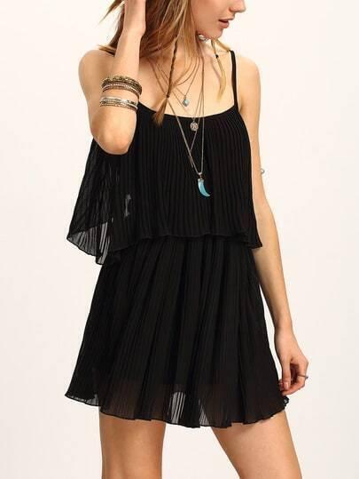 Cutout Layered Pleated Chiffon Cami Dress - Black