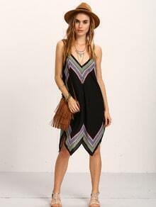 Tribal Print Asymmetric Cami Dress - Black