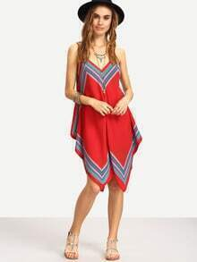 Tribal Print Asymmetric Cami Dress - Red