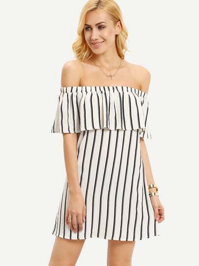 Ruffled Off-The-Shoulder Vertical Striped Dress