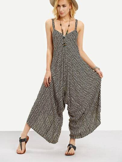 Striped Wide Leg Jumpsuit - Black