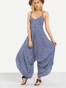 Striped Wide Leg Jumpsuit - Blue
