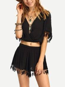 Lace Trimmed Draped Top With Shorts