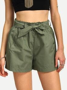 Self-Tie Wide Leg Shorts