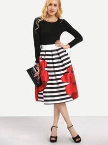 Rose Print Striped Midi Skirt