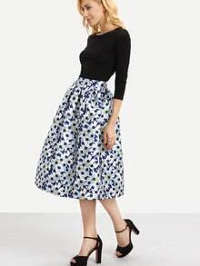 Polka Dot & Daisy Print Midi Skirt