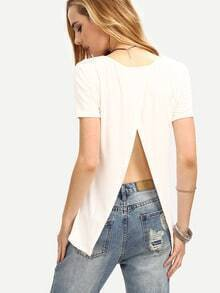 Plain Slit Back T-shirt