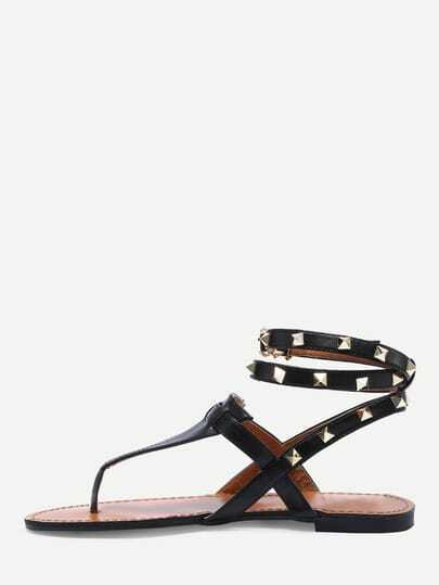 Black Studded Flat Thong Sandals