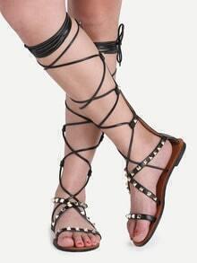 sandale lacets avec clous - Noir