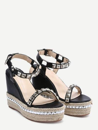 keilabsatz sandalen mit plattform und strass verziert. Black Bedroom Furniture Sets. Home Design Ideas