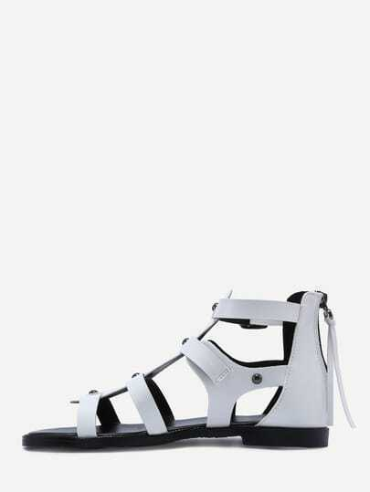 White Open Toe Caged Cutout Gladiator Sandals