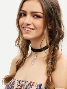 Silver Faux Leather Tassel Choker Necklace