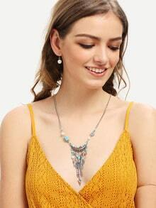 Turquiose And Arrow Shaped Tassel Pendant Necklace