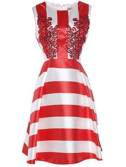 Red White Striped Sequined A-Line Dress