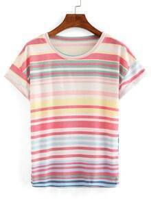 Rolled Sleeve Striped T-shirt