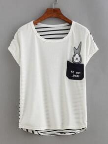 Bunny Print Striped Back T-shirt