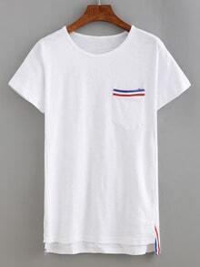 Striped Pocket High-Low T-shirt