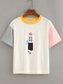 Color Block Sunglasses Girl Print T-shirt