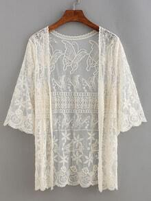 Embroidered Mesh Open-Front Top