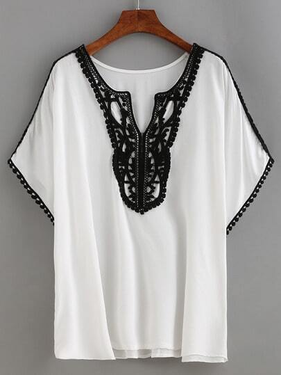 Contrast Crochet Trimmed Top