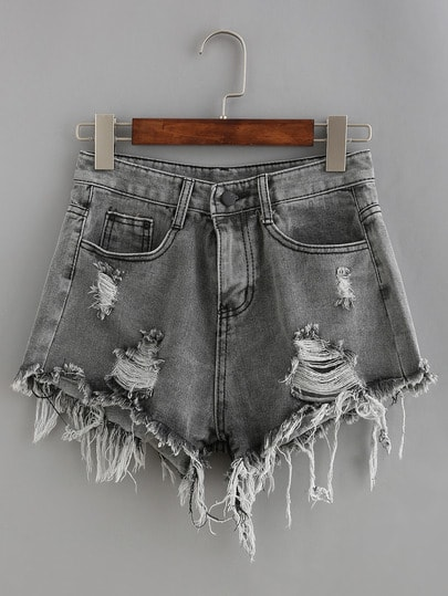 short en denim - Noir -French SheIn(Sheinside)