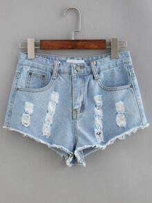 Frayed Light Blue Denim Shorts
