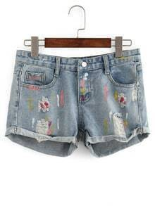 Frayed Paint Splatter Print Denim Shorts