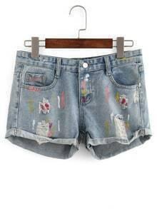 Frayed Paint Splatter Print Denim Shorts
