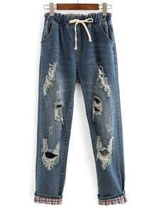 Ripped Drawstring Waist Jeans