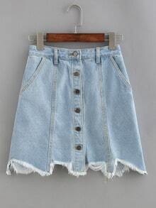 Buttoned Front Raw Hem Denim Skirt