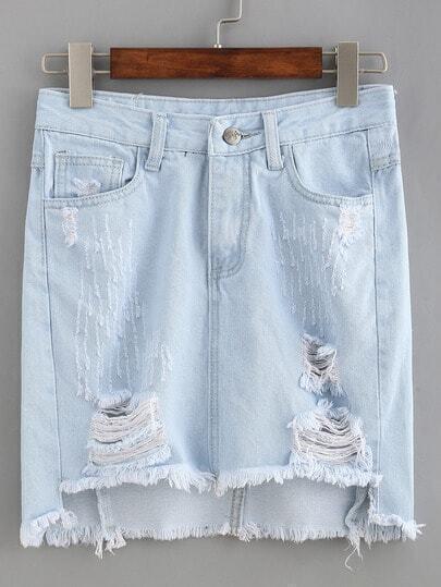 ripped high low denim skirt light blue shein sheinside