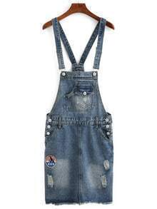 Embroidered Patch Overall Denim Dress