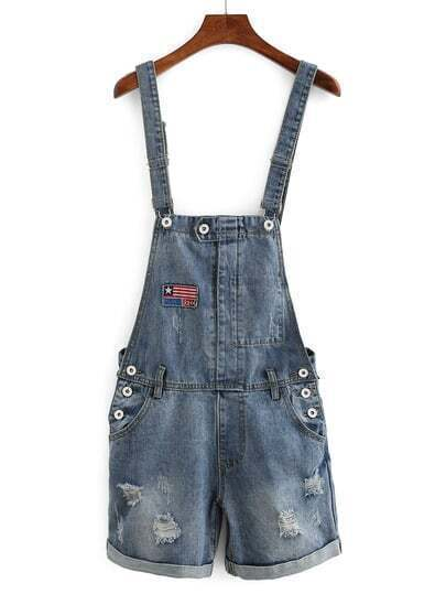 Embroidered Patch Overall Denim Shorts