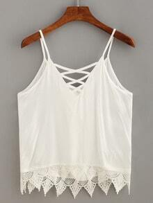 Lace Trimmed Lace-Up Cami Top