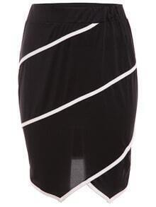 Contrast Binding Asymmetric Skirt - Black