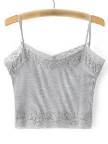 Grey Lace Trim Rib Spaghetti Strap Camis Top