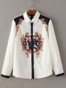 White Long Sleeve Buttons Front Print Chiffon Blouse