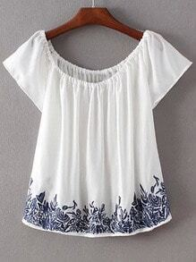 White Scoop Neck Short Sleeve Embroidery Blouse