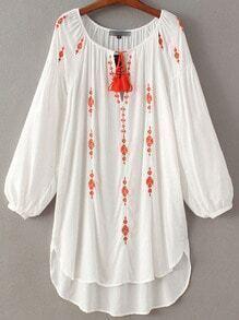 White Lantern Sleeve Tie Neck Tassel Embroidery Dress