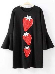 Black Bell Sleeve Zipper Back Strawberries Printed Dress