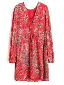 Red Lantern Sleeve Lace Up Front Vintage Print Dress