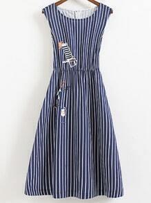 Blue Sleeveless Elastic Waist Zipper Back Print Stripe Dress