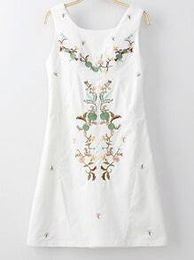 White Sleeveless Zipper Side Embroidery Dress