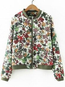Multicolor Pockets Zipper Front Flowers Print Jacket