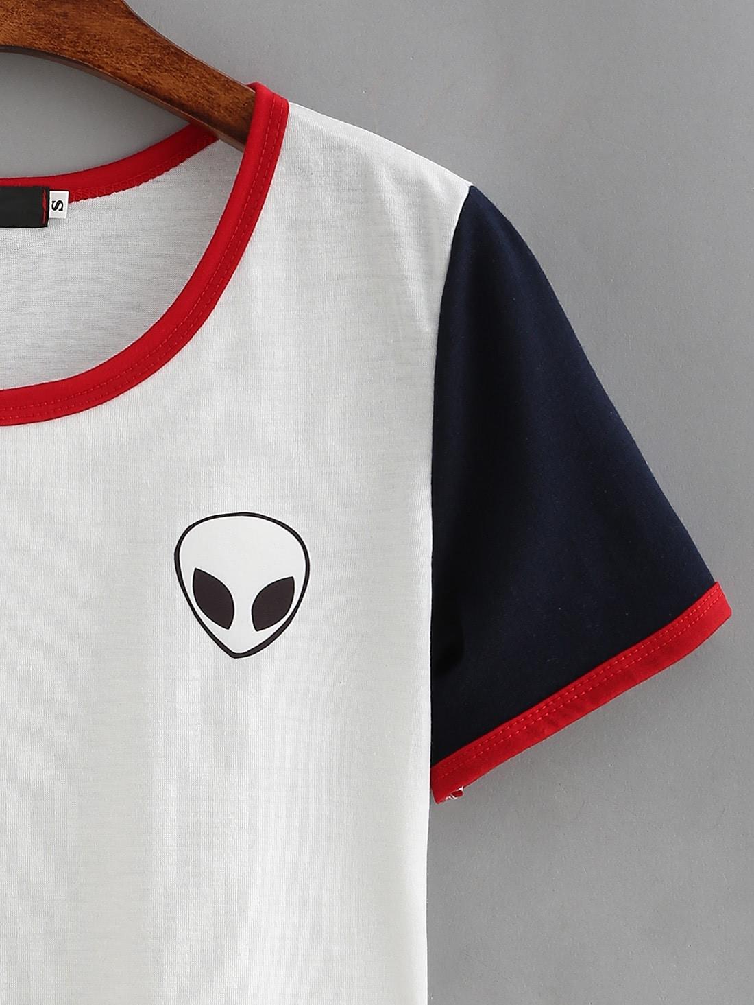 Color Block Alien Print T-shirt
