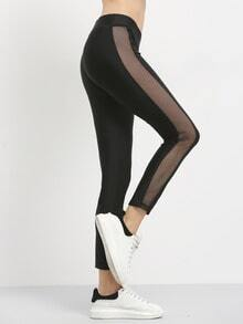 Black Patchwork Perspective Sports Pants