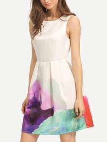 Multicolor Print Sleeveless Pleated Dress